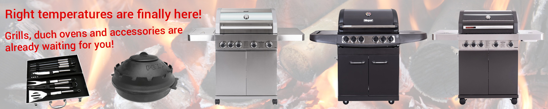 Grills, duch ovens, and accessories